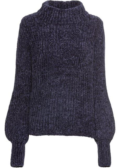 Maglione in ciniglia morbida blu