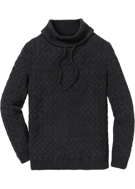 Alto Fit Collo Trecce Antracite Regular Melange A Pullover Con WYH9eED2Ib