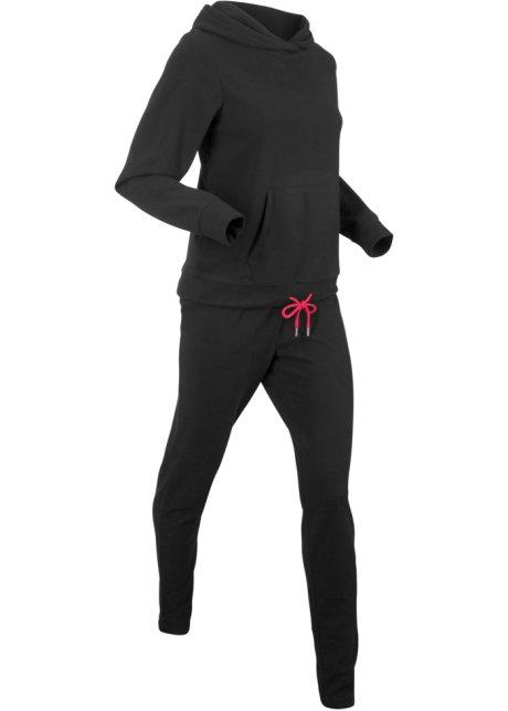Bambini Tinta unita 2 pezzi Tuta Pile Con Cappuccio Pantaloni Lunghi Da Jogging