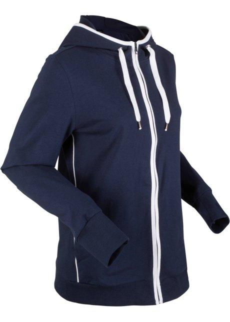 27f61d7905169d Felpa con zip e cappuccio Blu scuro / bianco - Donna - bonprix.it