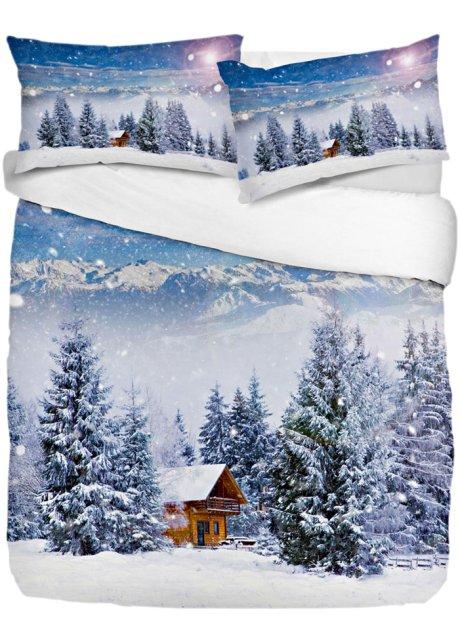 Copripiumino Paesaggio Invernale.Biancheria Letto Paesaggio Invernale Crema Azzurro Stampato