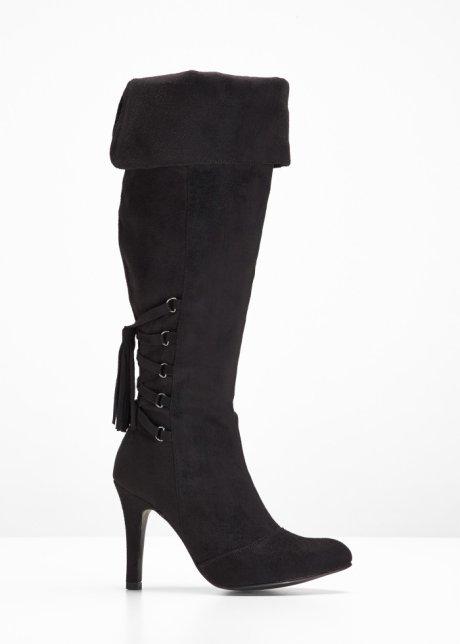 Stivali cuissard trendy con bella stringatura Nero