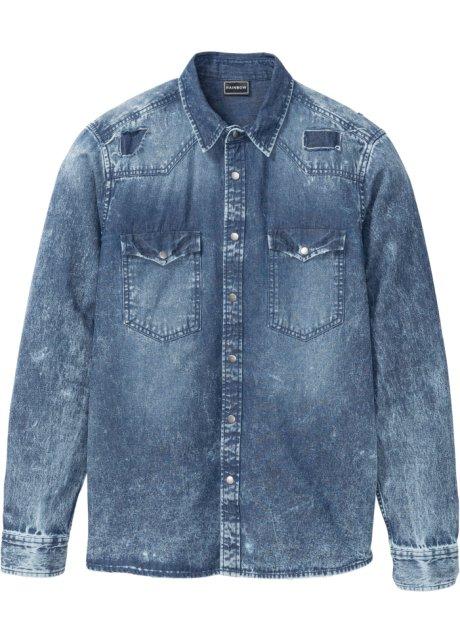 366d4b131e Camicia di jeans a manica lunga effetto usato slim fit
