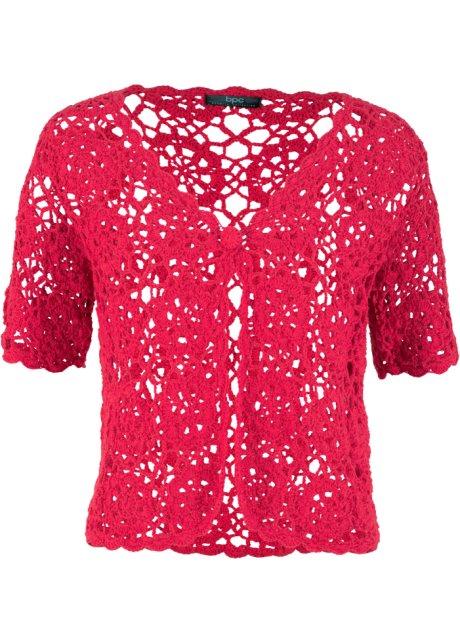 Bolero Alluncinetto Tipo Crochet Rosso