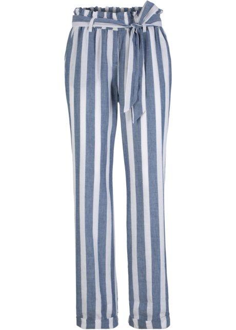 Pantaloni paperbag in misto cotone e lino