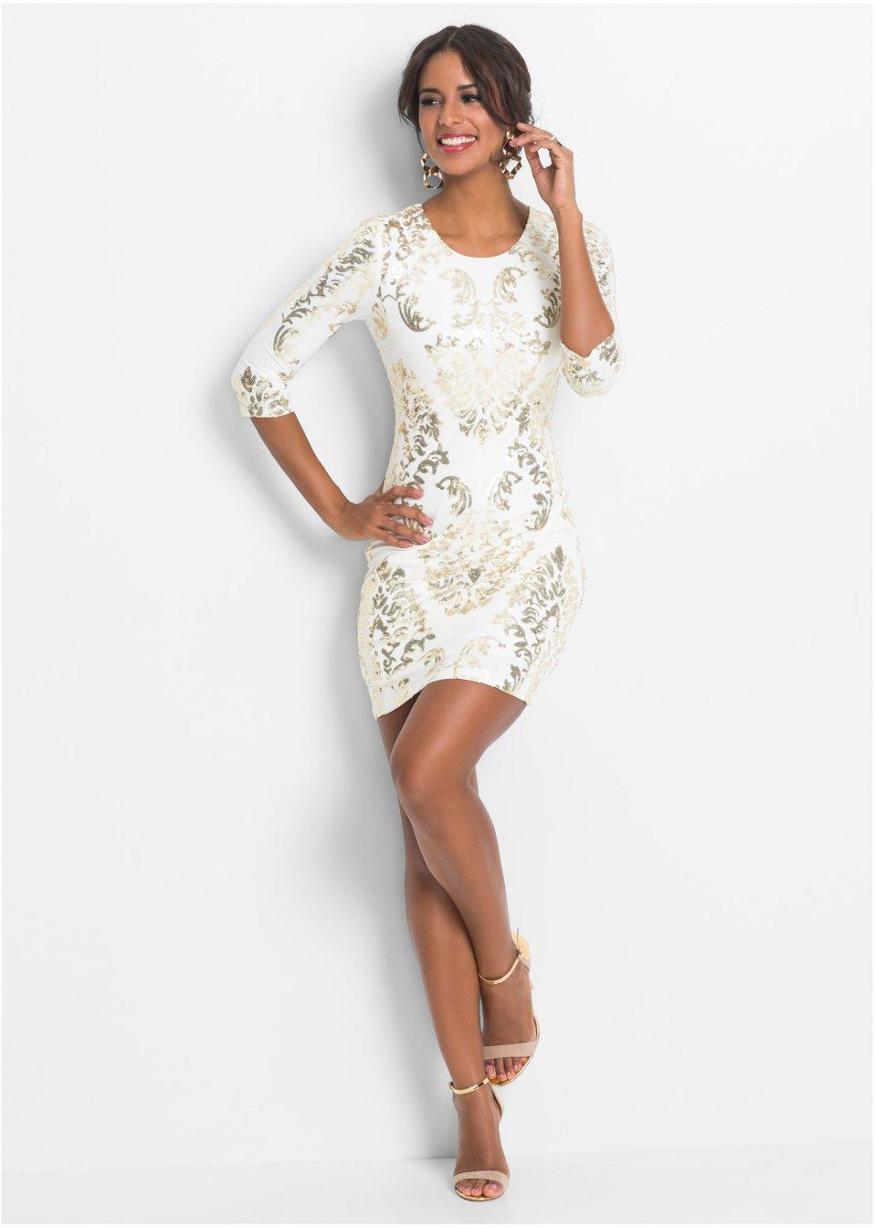 f2510169c2d33 Abito con paillettes Bianco   oro - BODYFLIRT boutique acquista online -  bonprix.it