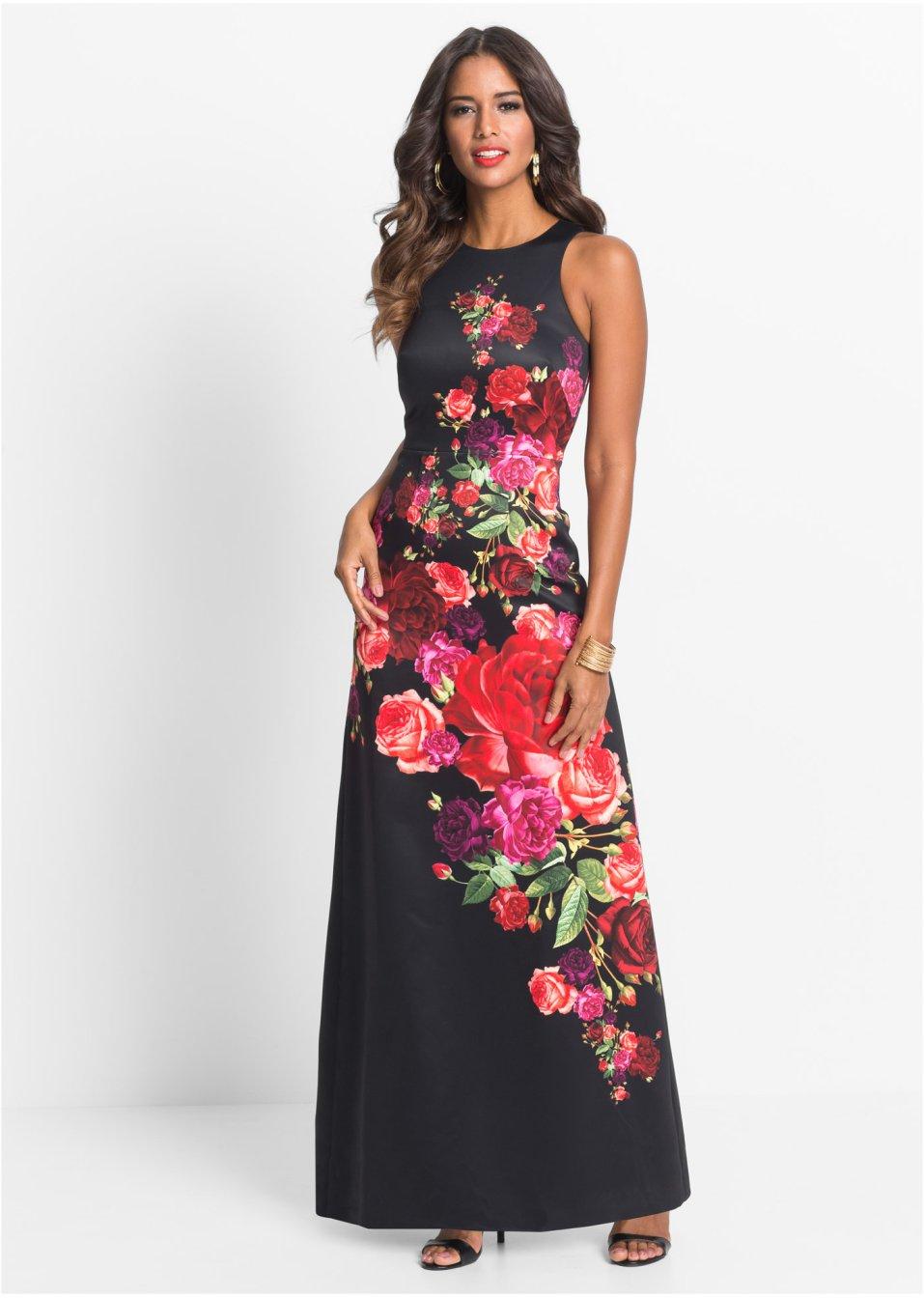 Abito a fiori Nero   fucsia   verde - BODYFLIRT boutique ordina online -  bonprix.it edf14a6a817