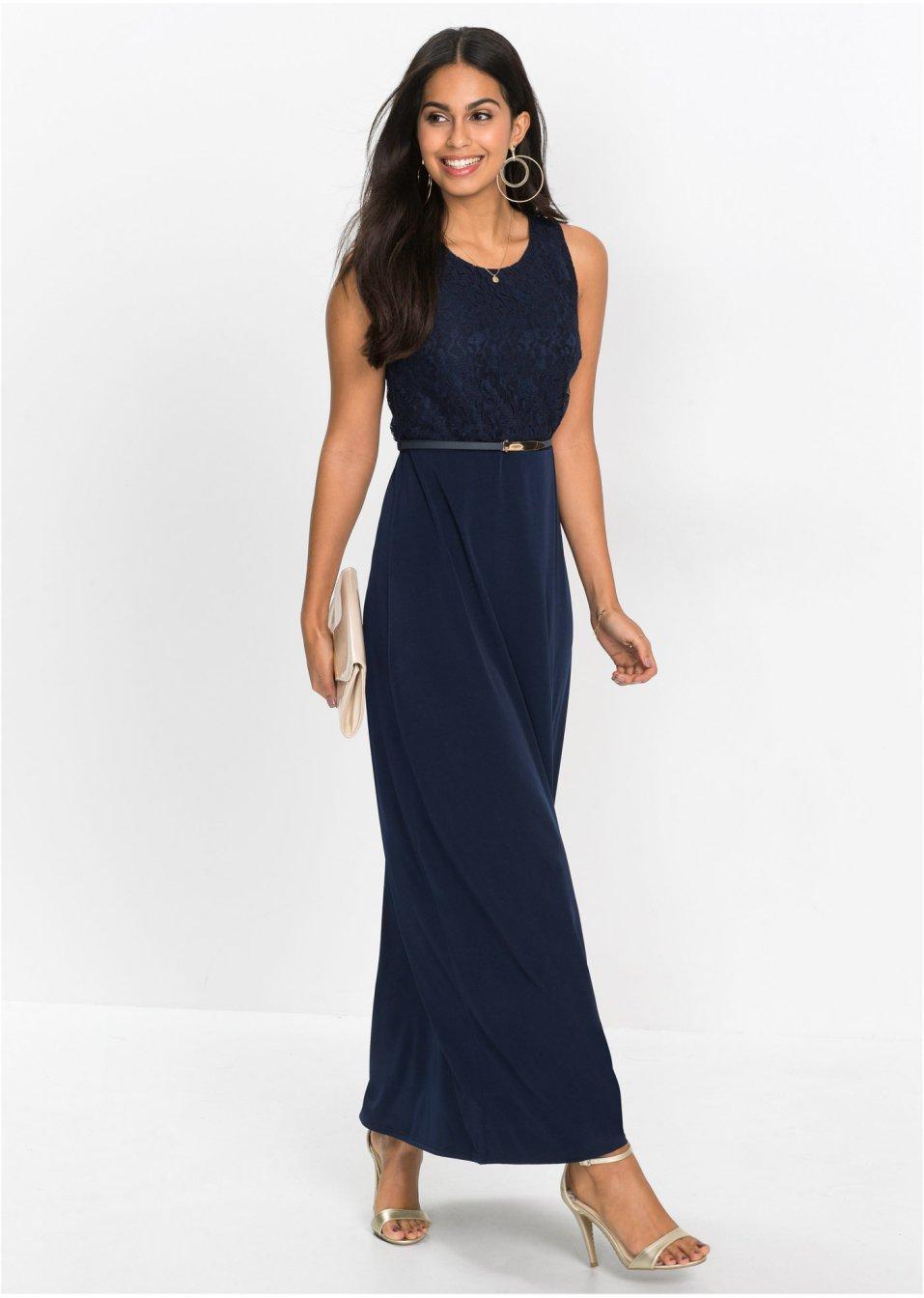 abito lungo con cintura blu scuro  donna  bonprixit