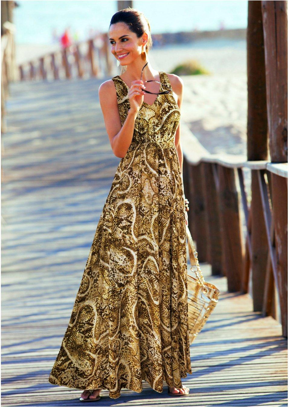 b303793a9d04 Abito lungo fantasia Bianco panna   oro fantasia - Donna - bpc selection  premium - bonprix.it