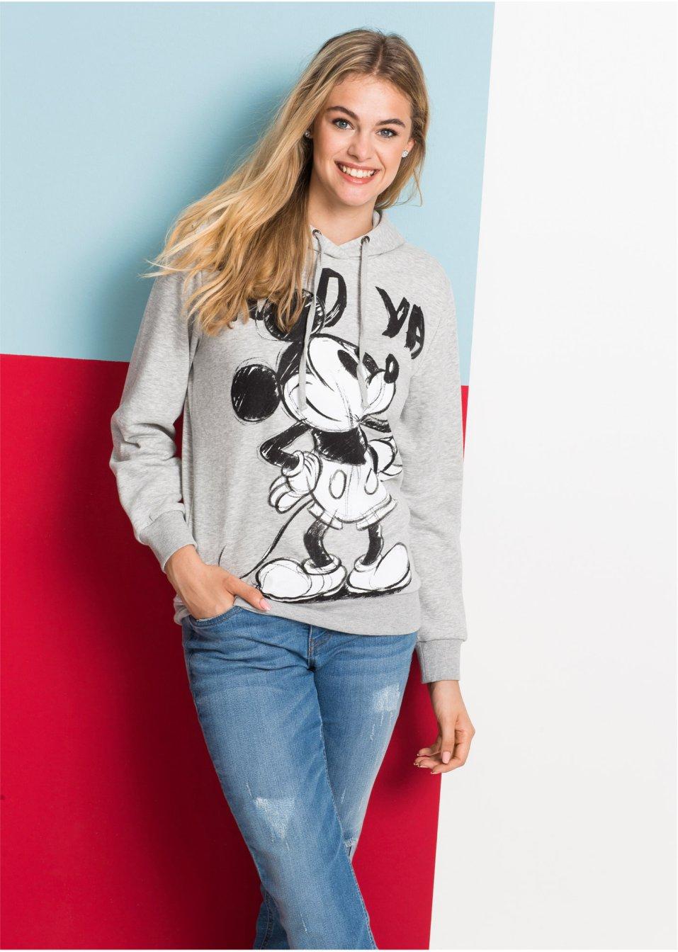 Felpa con cappuccio e stampa Mickey Mouse Grigio chiaro melange - Disney -  bonprix.it 44abceefd85