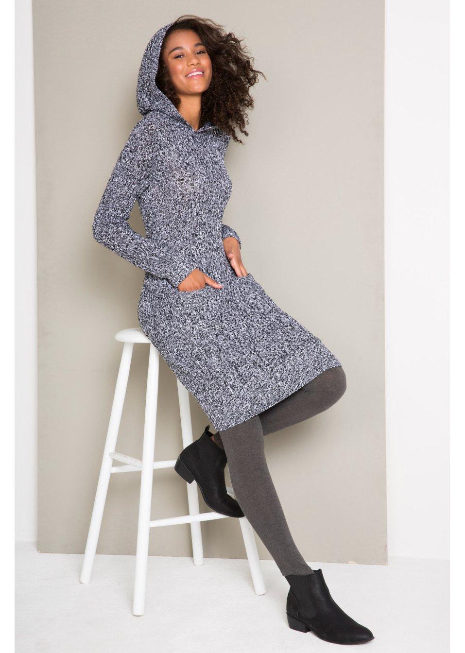 Abito in maglia con cappuccio Nero   bianco melange - bpc bonprix  collection acquista online - bonprix.it c79ce7d8418
