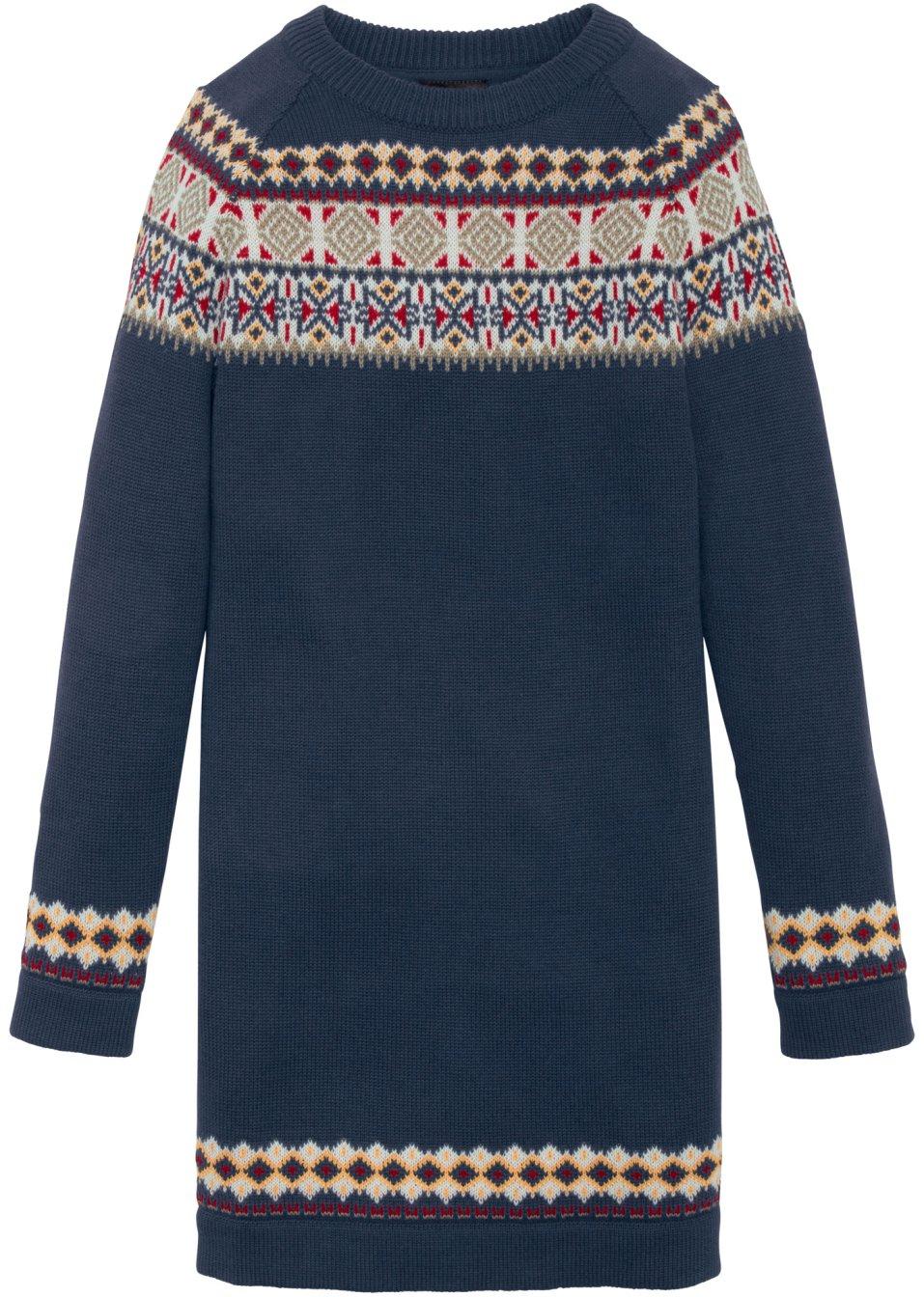 Abito in maglia con motivi norvegesi blu scuro jacquard for Mobili norvegesi