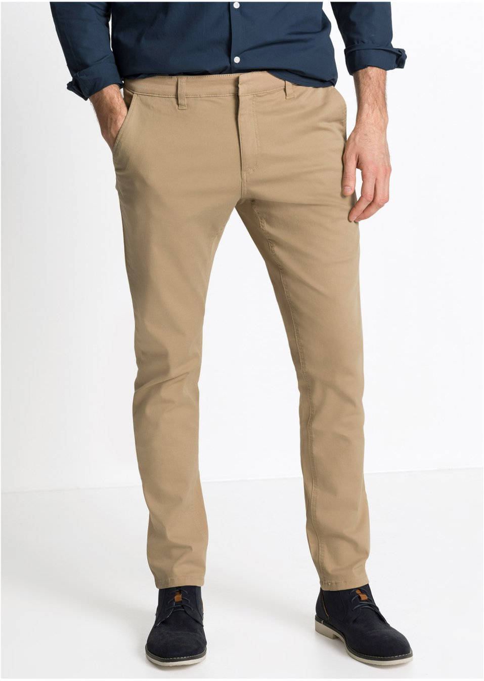 d0dab7fed7de Pantalone chino elasticizzato slim fit tapered Beige - RAINBOW - bonprix.it