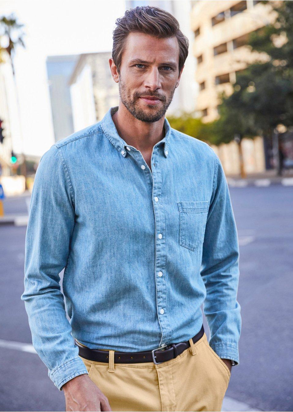 b98b56c638 Camicia di jeans a manica lunga slim fit