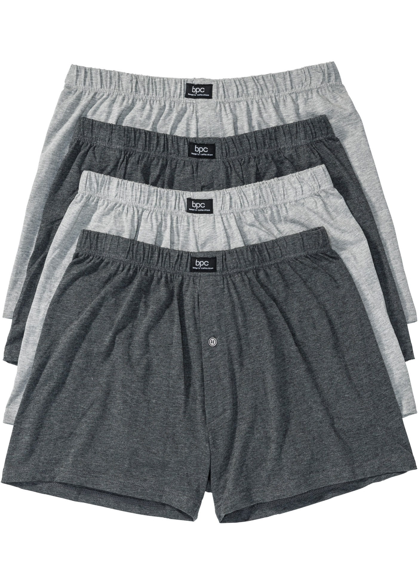 Boxer largo in jersey (pacco da 4) (Grigio) - bpc bonprix collection