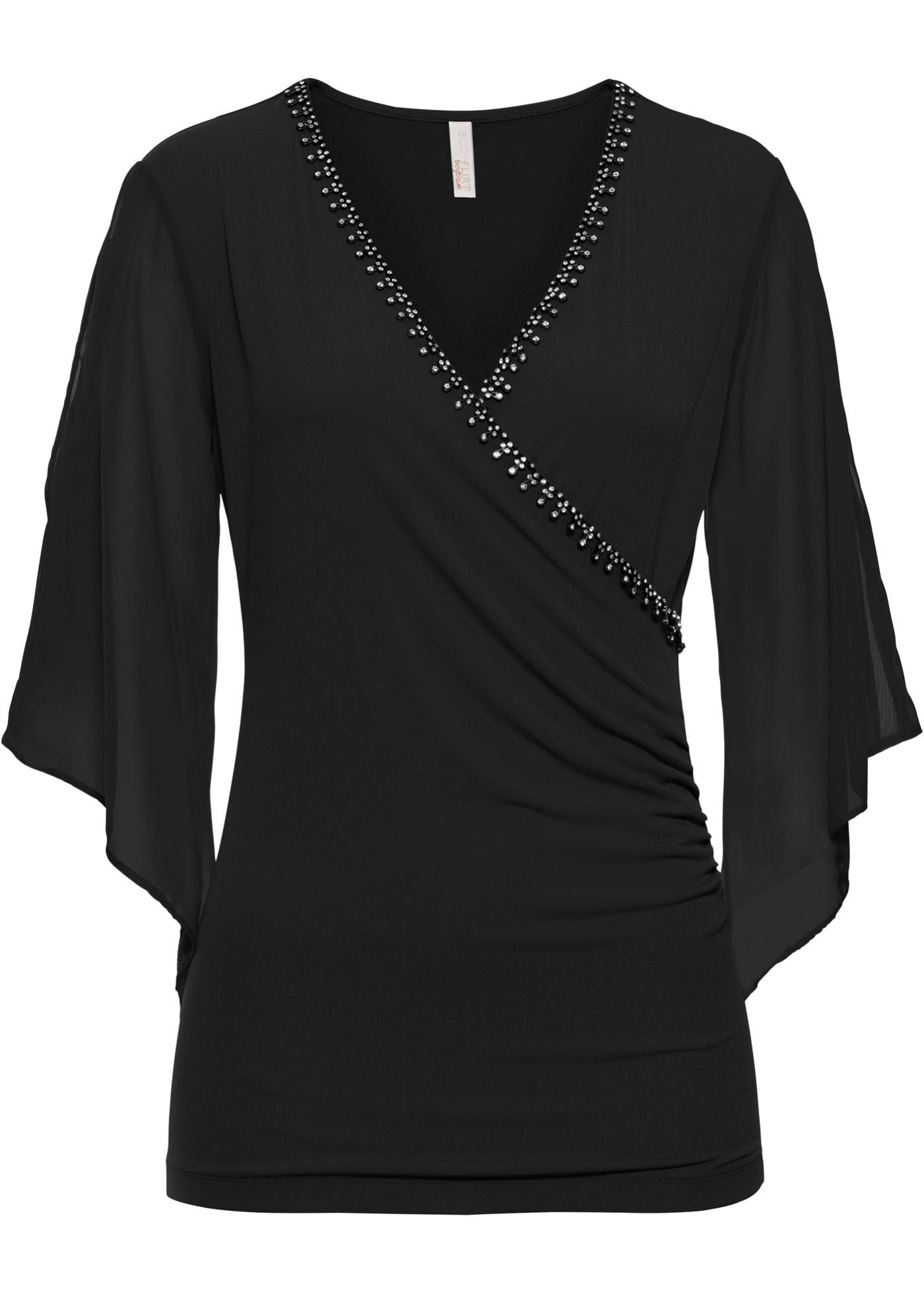 Blusa con pietre (Nero) - BODYFLIRT boutique