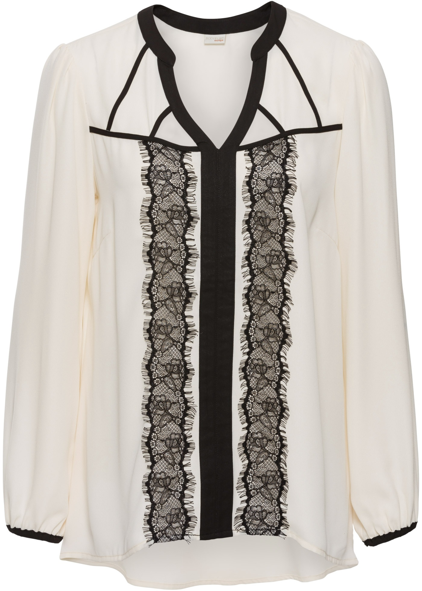 Blusa a manica lunga con pizzo (Bianco) - BODYFLIRT boutique