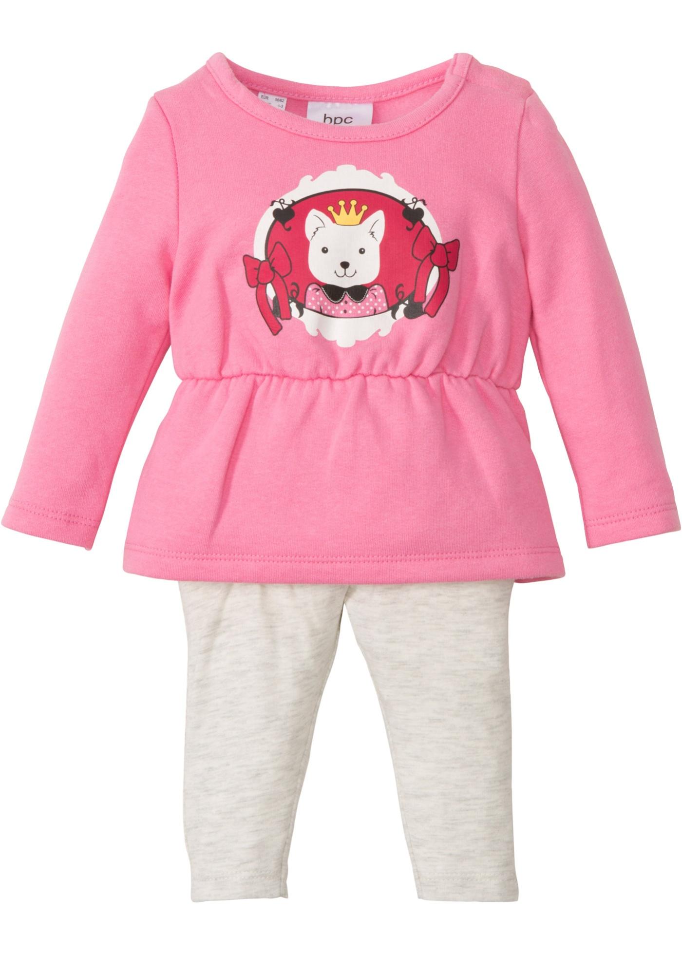 Abito in felpa + leggings (set 2 pezzi) in cotone biologico (rosa) - bpc bonprix collection