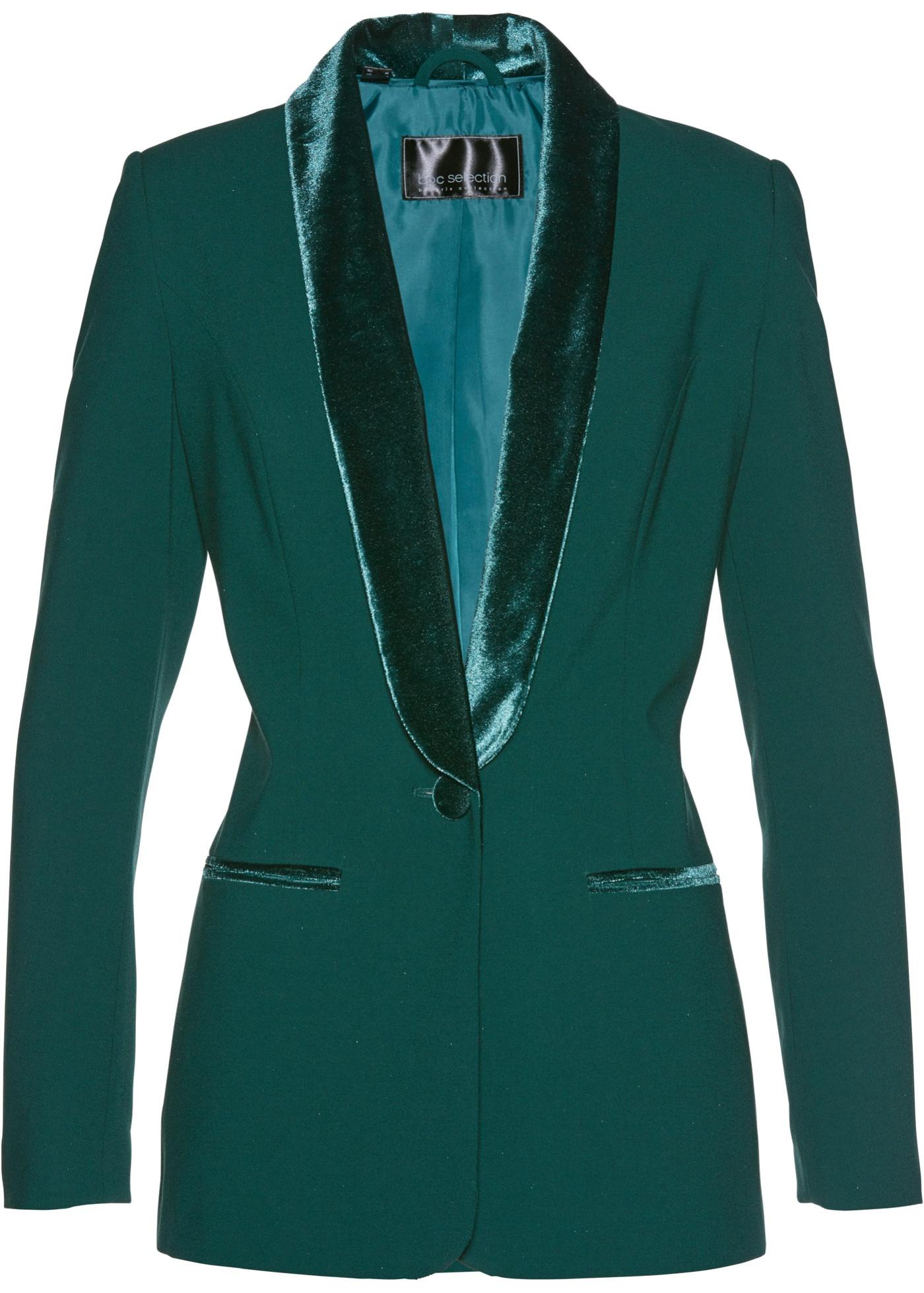Blazer con revers in velluto (Verde) - bpc selection