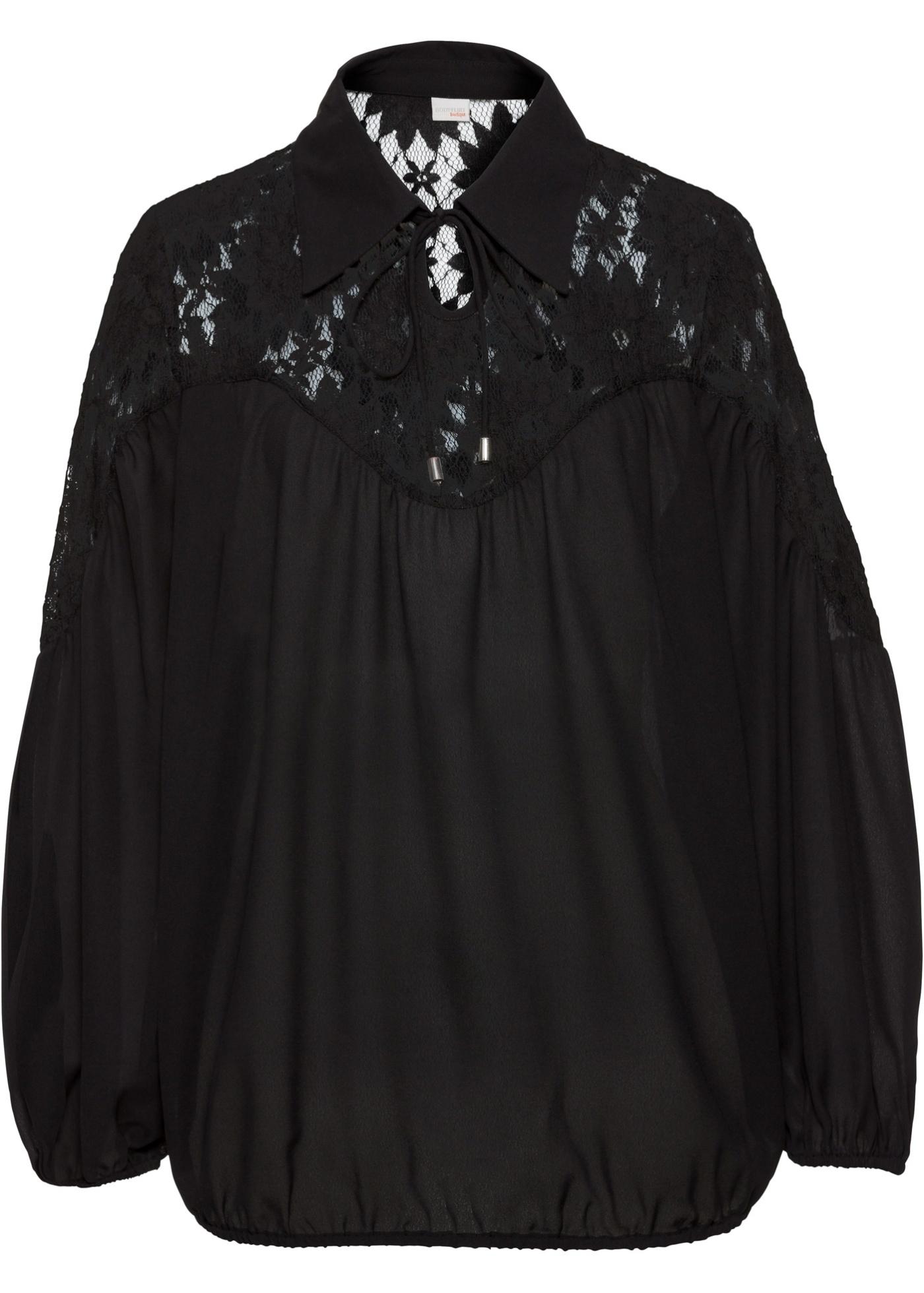 Blusa con colletto (Nero) - BODYFLIRT boutique
