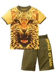 T-shirt + bermuda (set 2 pezzi), bpc bonprix collection, Giallo sole / verde oliva scuro