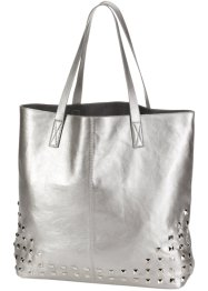 Borsa shopper con borchie, bpc bonprix collection, Argento