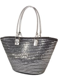 Borsa in paglia bicolore, bpc bonprix collection, Nero / argento