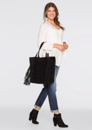 Borsa shopper in pelle con frange, bpc bonprix collection