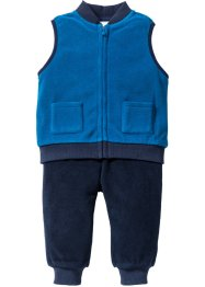 Gilet + pantalone in pile (set 2 pezzi), bpc bonprix collection, Blu oceano / blu scuro