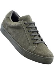 Sneaker in pelle, bpc bonprix collection, Verde oliva