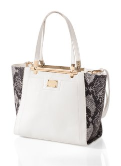 Borsa bicolore, bpc bonprix collection, Bianco / pitonato