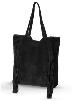 Borsa shopper in pelle con frange, bpc bonprix collection, Nero