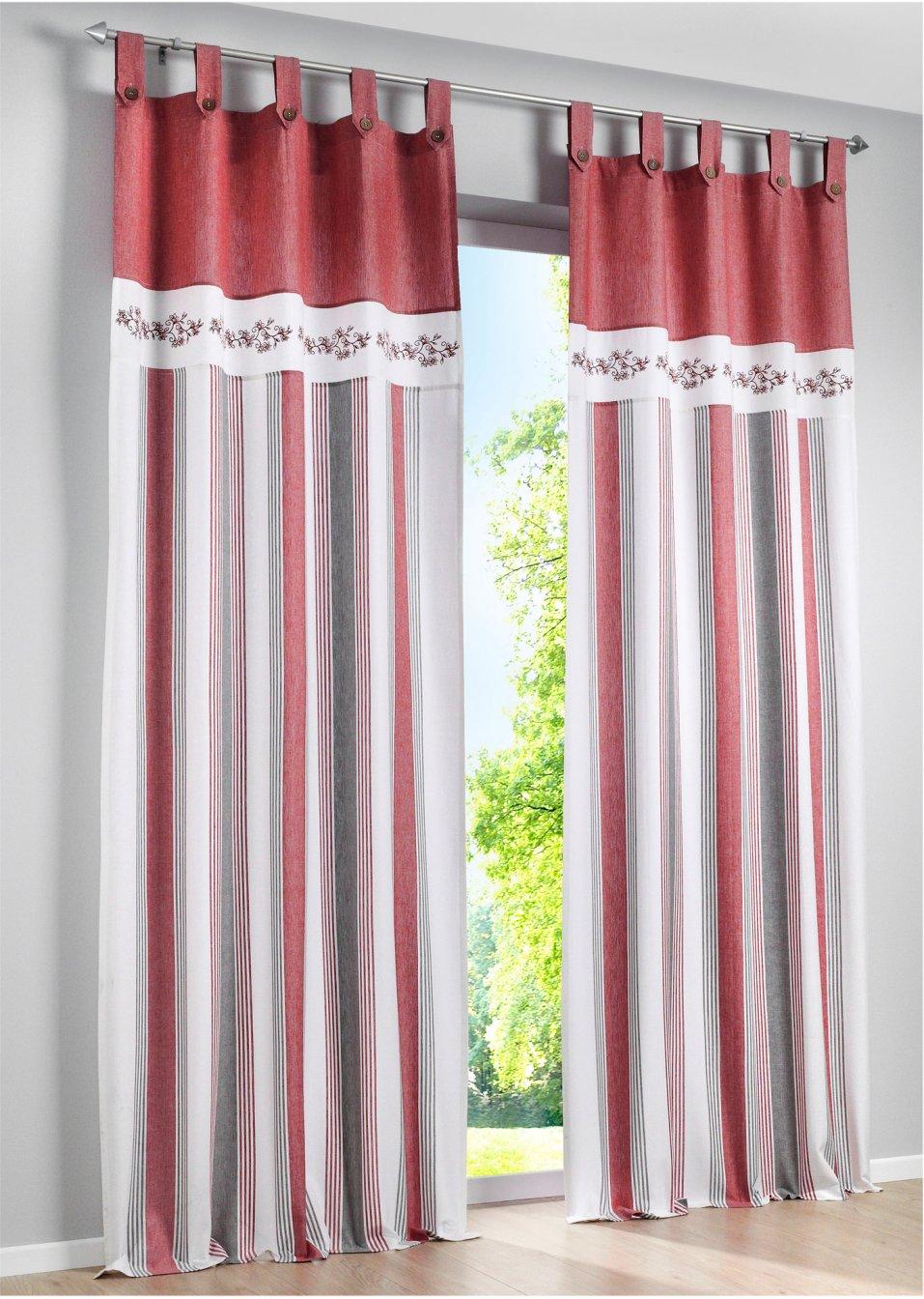 Tenda nora pacco da 1 rosso bpc living ordina online for Bonprix online shop gardinen