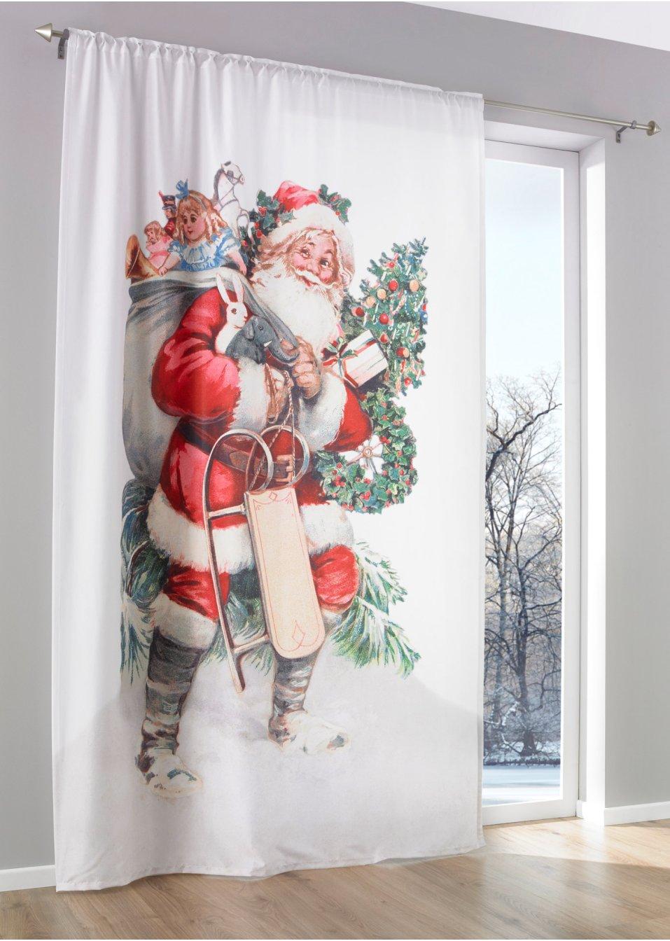 Tenda babbo natale pacco da 1 bianco rosso bpc living acquista online - Decorazioni natalizie finestre ...
